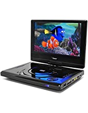"""9"""" Portable Region Free DVD Player by OREI - Multi Zone 1, 2, 3, 4, 5, 6 Travel Video Player - 4 Hour Battery, USB Input, Car Charger - USB Input Divx Playback - Remote Control"""
