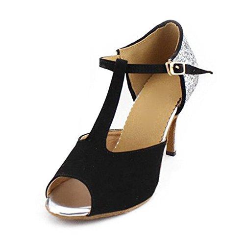 SUKUTU Women's Latin Baroom Dancing Shoes Party Square Glitter Dance Shoes For Lady SU027 qV2ta4