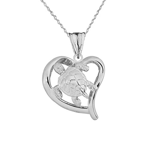 Elegant 14k White Gold Cut-Out Sea Turtle Heart Pendant Necklace, - Gold Turtle White