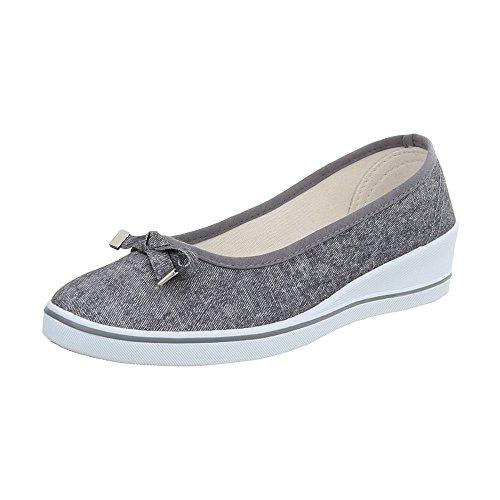 Mujer Mocasines Design Para Zapatos Ital Zy1708 Plataforma Gris Slip Pwq1vwWtxI