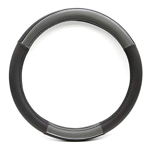 (VIOJI 15in. Premium Fiber Blk Grey PU Leather Sport Car Steering Wheel Cover for Dodge Lincoln Ram)