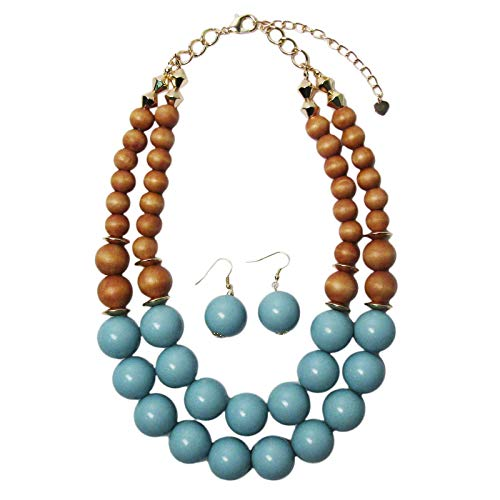 (Tigerstars Lovely Double Strand Turquoise Wood Balls Necklace Earring Set)