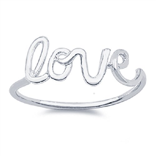 CloseoutWarehouse Sterling Silver Love in Script Wire Ring Size 7 by CloseoutWarehouse