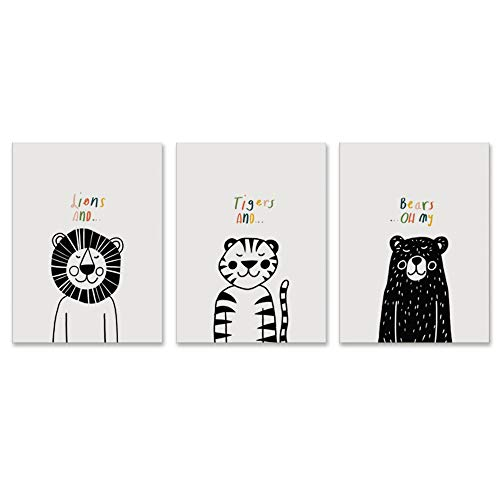 [해외]Children`s Room Wall Art Canvas Prints - Lions Tigers and Bears. Oh My Kids Room Themed 3 Panels Each 18x24x1.5 / Children`s Room Wall Art Canvas Prints - Lions, Tigers, and Bears. Oh My Kids Room Themed, 3 Panels Each 18x24x1.5