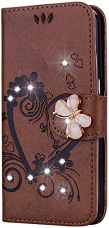 OMATENTI iPhone 11 Pro ケース 手帳型 良質PUレザーケース ダイヤモンドバタフライ磁気バックル, 衝撃吸収 液晶保護 カード収納 横置きスタンド機能付き マグネットiPhone 11 Pro 用, ブラウン
