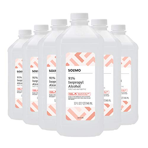 Amazon Brand - Solimo 91% Isopropyl Alcohol First Aid Antiseptic, 32 Fl Oz (Pack of 6) (32 Oz Rubbing Alcohol)