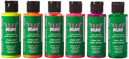 Badger Rc Air Radio Control Lexan Airbrush Paint Neon Set-6 2Oz Bottles-Rca-351