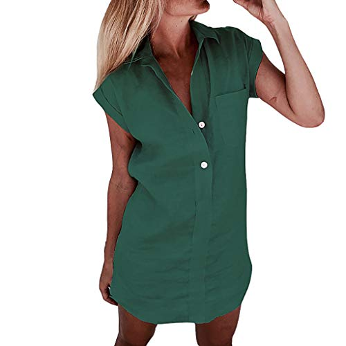 BeautyVan Petite Womens Casual Short Sleeve V Neck Button Down Pocket Loose Shirt Mini Dress Tunic Shirt (M, Green)