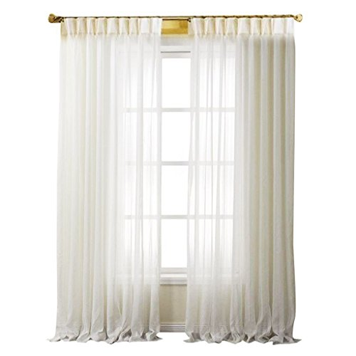PASSENGER PIGEON White Solid Sheer Double Pleated Top Window Treatments Curtains Draperies Panels with Multi Size Custom 72