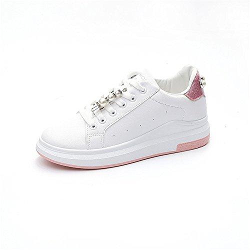 Zapatos de Mujer Gruesos con Cordones de Tulle, Zapatos Planos Ocasionales de la Plataforma, Nuevas Zapatillas de Deporte de la Academia del Verano, para IR de Compras, Citas, Correr Do