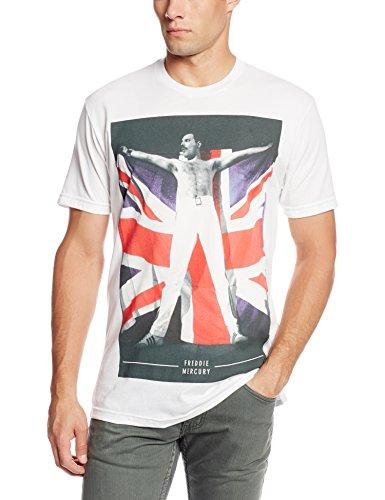 Bravado Men's Freddie Mercury Freddie Flag T-Shirt, White, Small (Best Selling Band Merchandise)