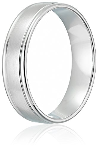 10k White Gold 6mm Comfort-Fit Wedding Band with Satin Center and High Polish Round Edges, Size 9.5