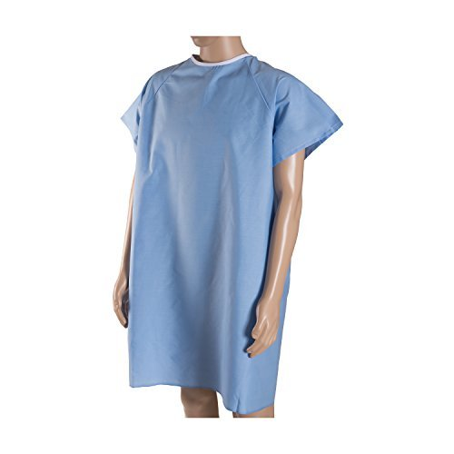 DMI Patient Unisex Hospital Gowns with Back Tie, Blue, 12-Count by MABIS DMI Healthcare (Gown Tie Patient)