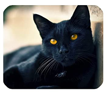Black Cat Yellow Eyes Wallpaper Customized Rectangle Mousepad