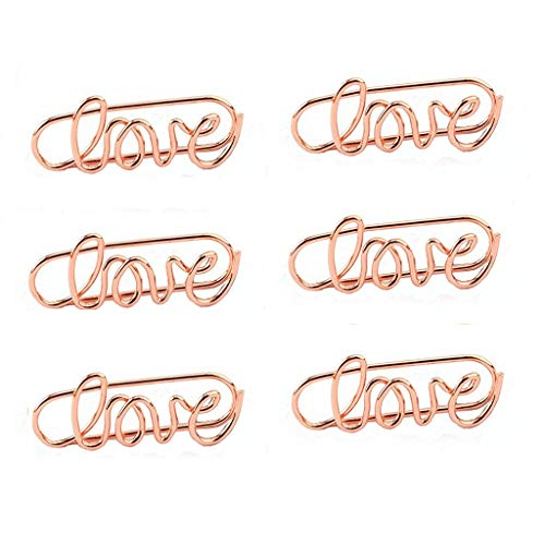 Shoppingmoon Love Paper Clips Metal Card File Note Clips for Office School Wedding Decoration Pack 20pcs