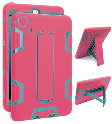 Bastex iPad Mini Case, iPad Mini 2/3 Case 3in1 Hybrid Shockproof Kickstand Case for iPad Mini 1/2/3 (Aquamarine Blue/Rose Red)