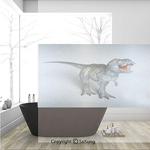 3D Decorative Privacy Window Films,Dinosaur Lizard Monster Dangerous Creature Extinction History Museum Nature,No-Glue Self Static Cling Glass Film for Home Bedroom Bathroom Kitchen Office 36x24 Inch