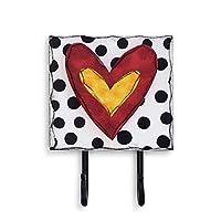 DEMDACO Heart Black and White Polka Dot 6 x 5 Wood and Iron Metal Wall Coat Hooks