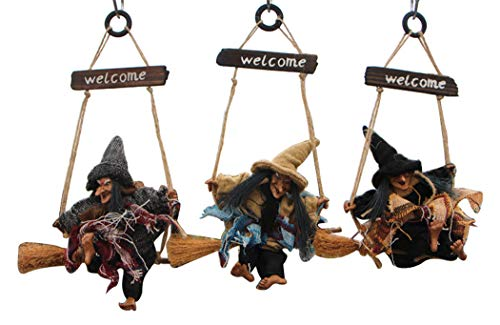 Hillento 3 PCS Vintage Wooden Halloween Hanging Props Decoration, Flying Witch with Welcome Board, Haunted House Prop Decor Bar Club KTV Ornament