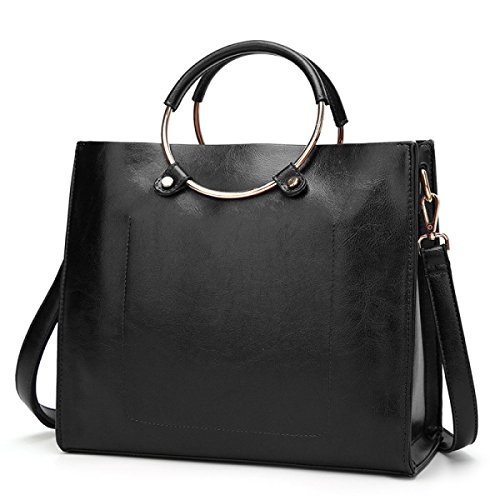 Brown Women's Tote MYLL Shoulder Handbag Ring Black Leather Handle axxdfw0q