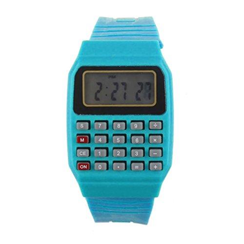 Siviki Unsex Silicone Multi-Purpose Date Time Electronic Wrist Calculator Watch (Blue)