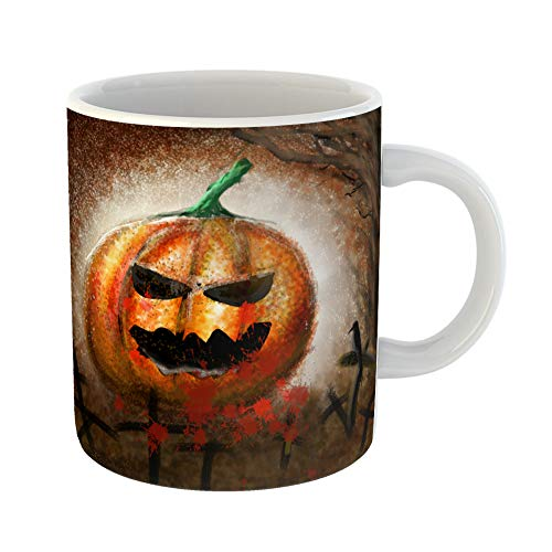 Emvency Coffee Tea Mug Gift 11 Ounces Funny Ceramic Colorful Autumn Drawings of Pumpkin Demon on Halloween Day Yellow Black Gifts For Family Friends Coworkers Boss -
