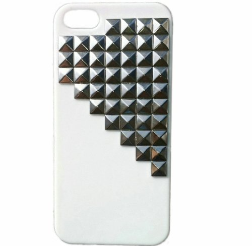 e Mobile Phone Protective Skin for iPhone 4 4S Mobile Case with Studs and Spikes White Silver ()