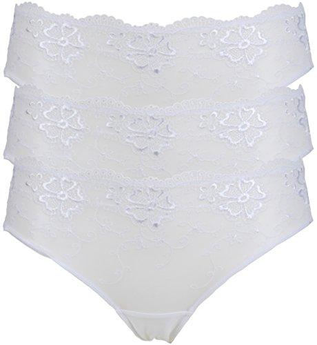 White Dentelle Élevée Festonné Magasin En Blanc Jambe 3 Low Rise Culotte Pack Ex Brodée 8UxOYw