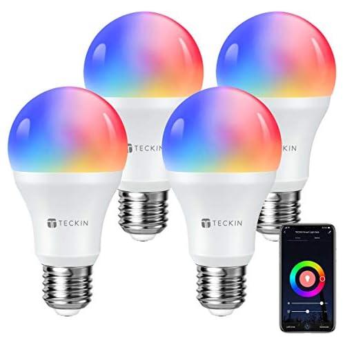 chollos oferta descuentos barato TECKIN Bombilla LED inteligente con Luz Cálida WiFi 2800k 6200k ajustable y lámpara multicolor Funciona conAlexa Móvil Google Home E27 equivalente 7 5W bombilla de cambio de color 4 paquetes