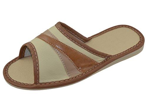 Piel auténtica elegante señoras de las mujeres zapatillas, chanclas TP-W-5