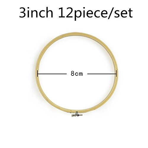 2500 Silk Art Bamboo Circle Tambour Hoop Ring 3 inch 12 piece/Set for Party Decor Embroidery Cross Stitch CXQ12-8 by 2500 Silk Art