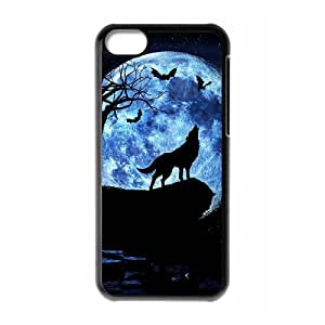 T-TGL(RQ) DIY Wolf and Moon Pattern Protective Durable Back Case for Iphone 5C