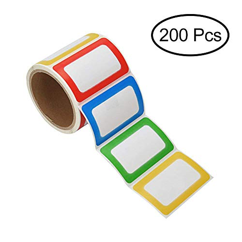 (PAPRMA Nametag Labels, 200 Colorful Plain Name Stickers, Name Tags Stick On for Kids, Wall, Desk, Clothes, 3 1/2 X 2 1/4, 1 Roll)
