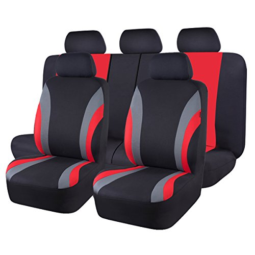 NEW ARRIVAL- CAR PASS Line Rider 11PCS Universal Fit Car Seat Cover -100% Breathable With 5mm Composite Sponge Inside,Airbag Compatible(BLACK And Red)