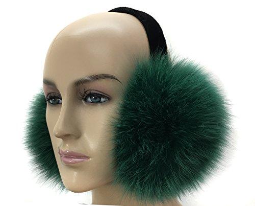 D&S 100% Real Fox Fur Winter Earmuff (Green)