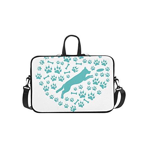 (Two Labrador Retrievers and Frisbees Pattern Briefcase Laptop Bag Messenger Shoulder Work Bag Crossbody Handbag for Business)