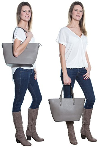 Faux Leather Tote Bag For Women - Convertible Crossbody Tote And Handbag - Top Handle Satchel Purse With Top Zipper Closure (PEWTER) by Pier 17 (Image #7)
