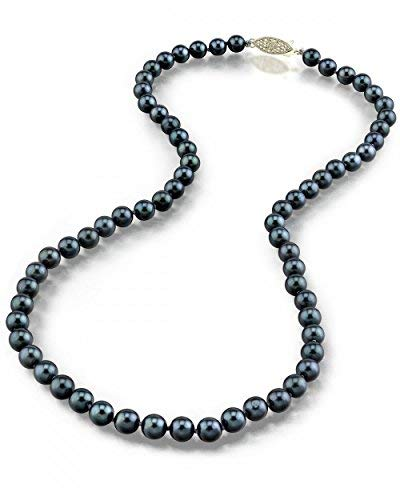 THE PEARL SOURCE 14K Gold 5.0-5.5mm Round Genuine Black Japanese Akoya Saltwater Cultured Pearl Necklace in 18