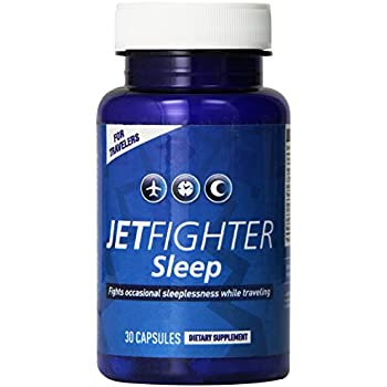 Jet Lag Pills - JetFighter Sleep – 30 capsules - Jet Lag Relief Supplement – Fights Sleeplessness – Helps Regulate Circadian Rhythm – Contains Melatonin ...