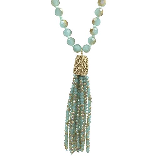Long Glass Beaded Tassel Fringe Boutique Style Necklace (Light Blue & Brown Tones)