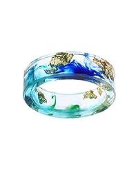 Jiayiqi Unisex Fashion Resin Ring Charm Microlandschaft Scenery Landscape Ring