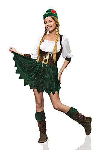 Female Robin Hood (Adult Women Miss Merry Outlaw Costume Cosplay Role Play Forest Elf Fairy Dress Up (Small/Medium, Emerald Green, Brown, White, Gold))