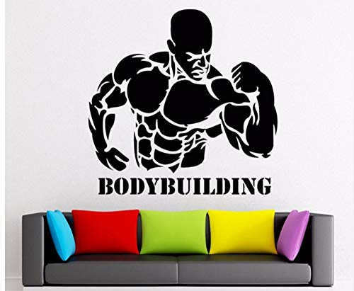 LSFHB 43X42Cm Sport Bodybuilder Wall Stickers Boys Bedroom Activity Workout Strong Man Barbell Vinyl Decal Sticker Home Gym Home -