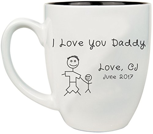 Engraved Father's Day Coffee Mug, Personalized 16 oz Ceramic Coffee Cup with Color Choices, Dad Gifts - BM11