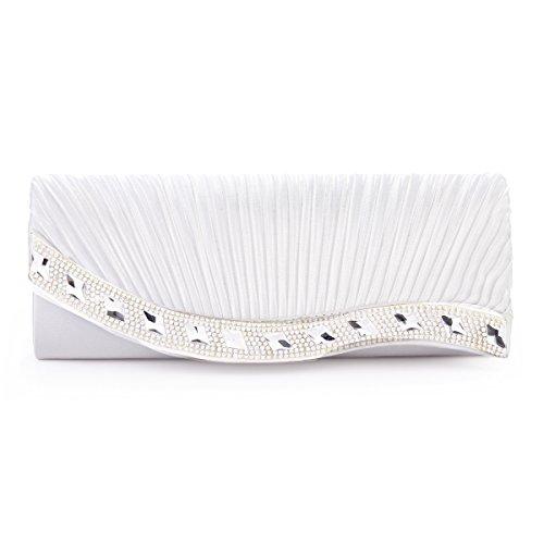 Damara Soirée Strass Femme Diament blanc Sac Satin De Fabriqué Amovible Chaine Plissé r7wr1q