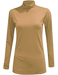 Womens Long Sleeve Polo Neck Top Jumper Ladies Stretchy Turtle Neck Casual Top S/3XL