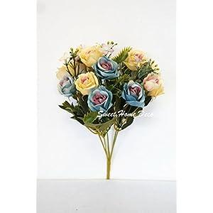 Sweet Home Deco 12'' Silk Rose Artificial Flower Bush Small Flower Bush Set of 2 Wedding/Home Decorations 103