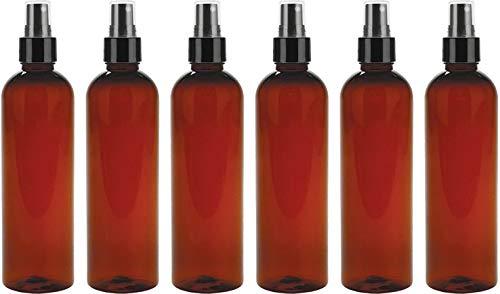 Amber Plastic Spray Bottles, 8 ounce (6 Pack), Fine Mist (black), Bullet Style, BPA Free PETE1 -