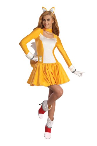 Secret Wishes  Costume Sonic The Hedgehog, Adult Tails Dress and Accessories, Orange/White, Small