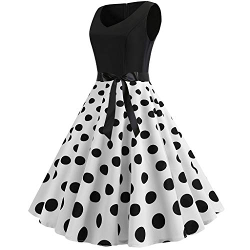 (AMOFINY Women's Tops Dresses Vintage Sleeveless Print Casual Evening Party Prom Swing Dress)